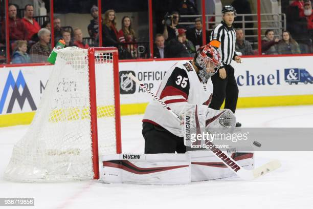 Arizona Coyotes Goalie Darcy Kuemper about to save the puck during the 1st period of the Carolina Hurricanes game versus the Arizona Coyotes on March...