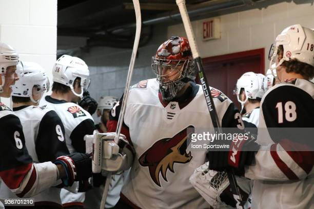 Arizona Coyotes Goalie Darcy Kuemper during the 1st period of the Carolina Hurricanes game versus the Arizona Coyotes on March 22 at PNC Arena in...