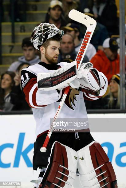 Arizona Coyotes goalie Scott Wedgewood skates back to goal after a time out during a game between the Boston Bruins and the Phoenix Coyotes on...