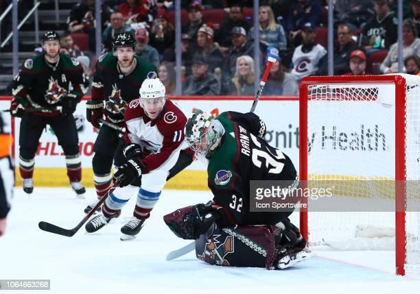 Arizona Coyotes goaltender Antti Raanta blocks a shot during the NHL hockey game between the Arizona Coyotes and the Colorado Avalanche on November...