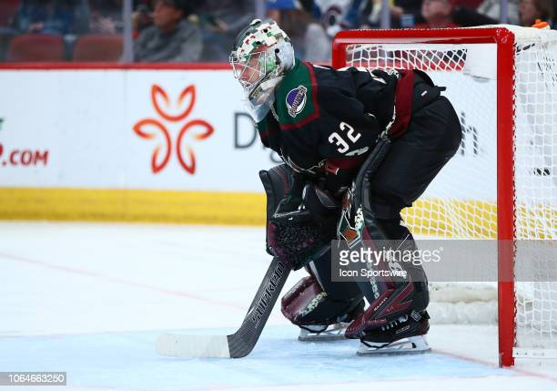 Arizona Coyotes goaltender Antti Raanta plays goalie during the NHL hockey game between the Arizona Coyotes and the Colorado Avalanche on November 23...