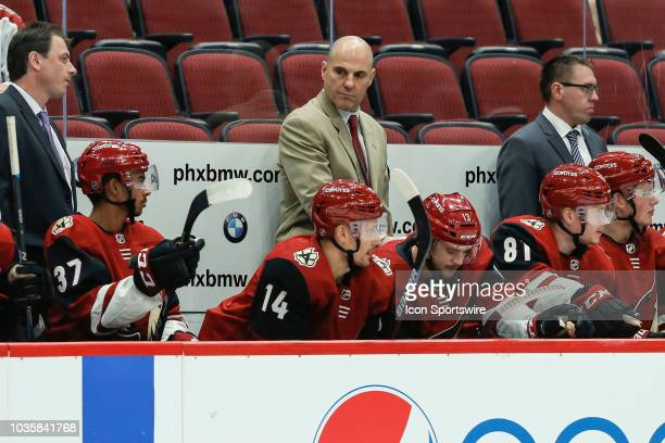 Arizona Coyotes head coach Rick Tocchet looks on during the preseason NHL hockey game between the Los Angeles Kings and the Arizona Coyotes on Sep 18...