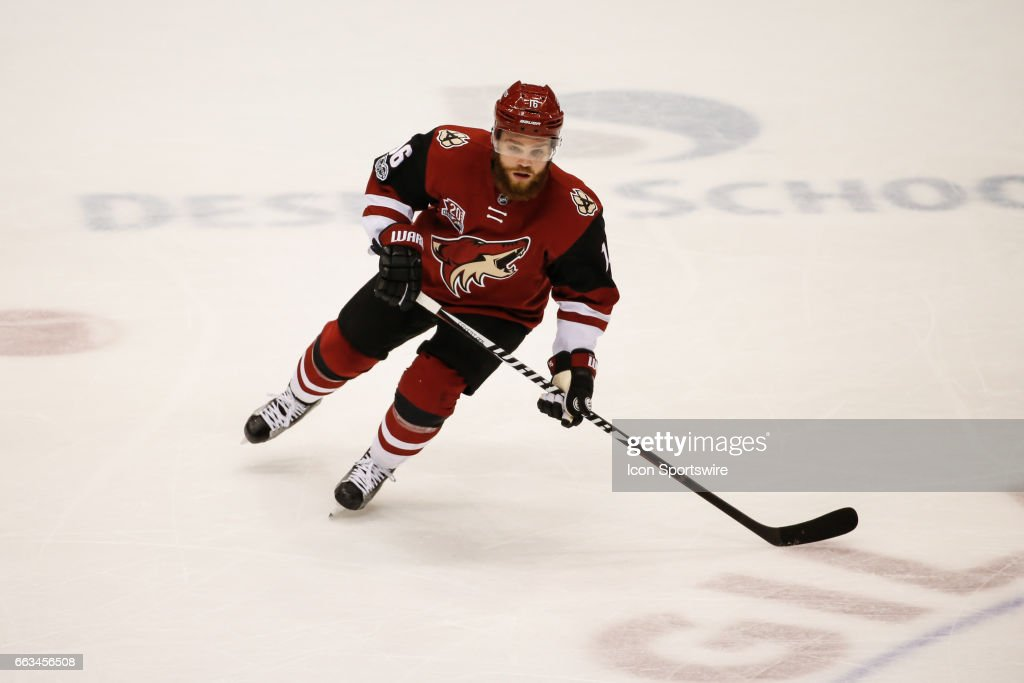 Arizona Coyotes left wing Max Domi (16) skates into position during the NHL hockey game between the Washington Capitals and the Arizona Coyotes on March 31, 2017 at Gila River Arena in Glendale, Arizona.