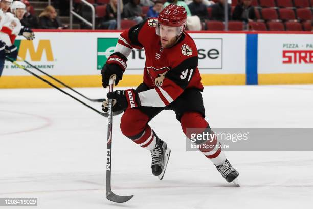 Arizona Coyotes left wing Taylor Hall skates during the NHL hockey game between the Florida Panthers and the Arizona Coyotes on February 25, 2020 at...