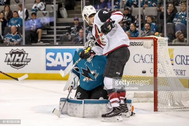 Arizona Coyotes right wing Christian Fischer assists on defenseman Alex Goligoski goal that gets behind San Jose Sharks goaltender Martin Jones...