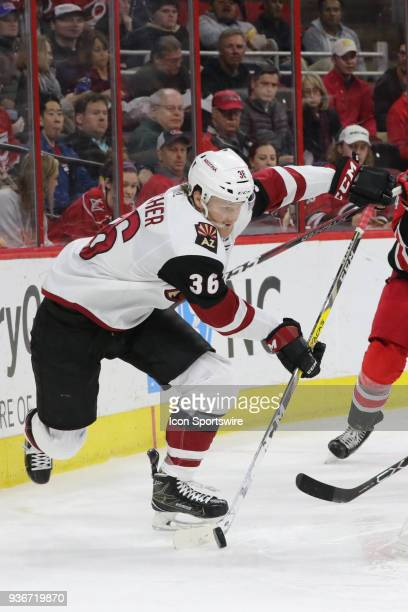 Arizona Coyotes Right Wing Christian Fischer during the 2nd period of the Carolina Hurricanes game versus the Arizona Coyotes on March 22 at PNC Arena