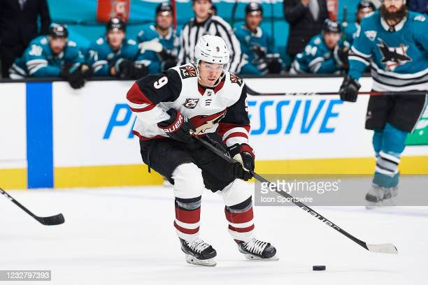 Arizona Coyotes right wing Clayton Keller carries the puck during the San Jose Sharks game versus the Arizona Coyotes on May 8 at SAP Center at San...