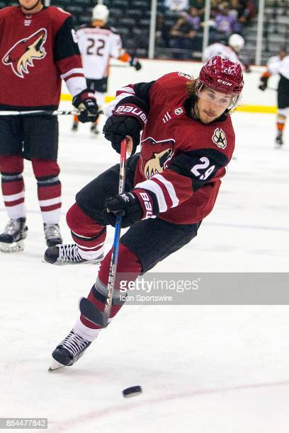 Arizona Coyotes right wing Mario Kempe warms up before a preseason hockey game between the Anaheim Ducks and Arizona Coyotes on September 25 at...