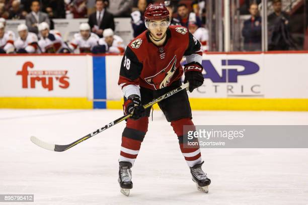 Arizona Coyotes right wing Nicholas Merkley watches for the puck during the NHL hockey game between the Florida Panthers and the Arizona Coyotes on...
