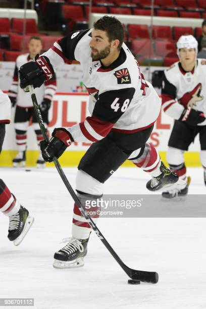 Arizona Coyotes Winger Jordan Martinook during the warmups of the Carolina Hurricanes game versus the Arizona Coyotes on March 22 at PNC Arena in...