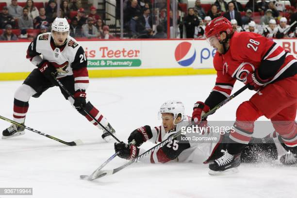 Arizona Coyotes Winger Nick Cousins and Carolina Hurricanes Center Elias Lindholm fight for the puck during the 2nd period of the Carolina Hurricanes...