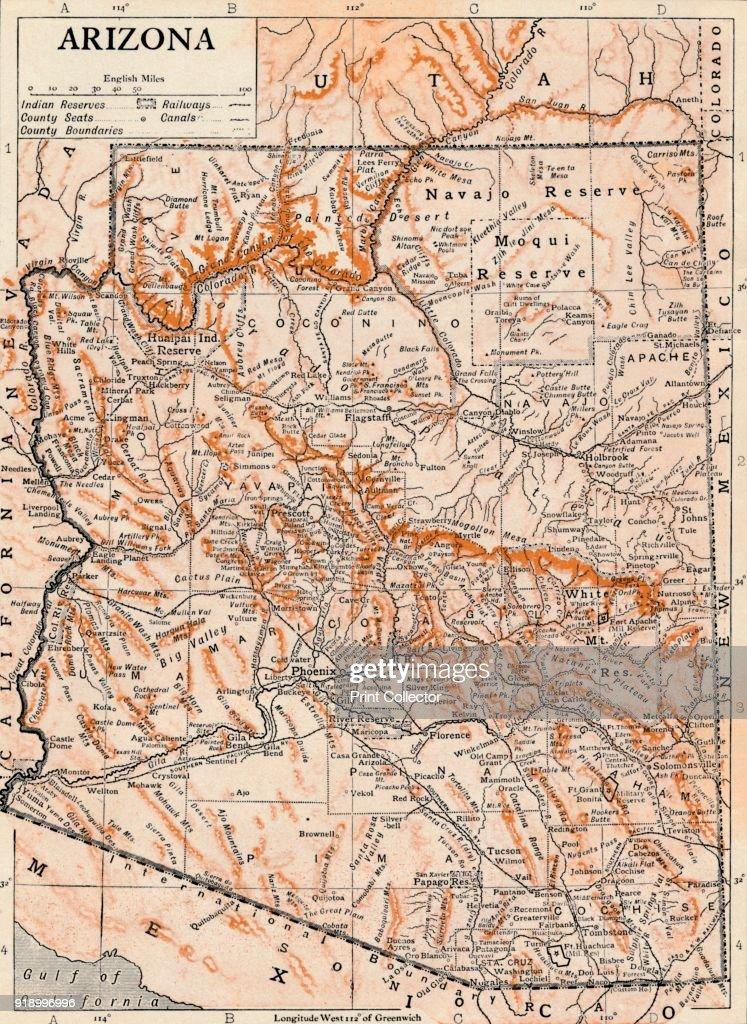 Map Of Arizona Detailed.Arizona Detailed And Scaled Map Of Arizona United States With