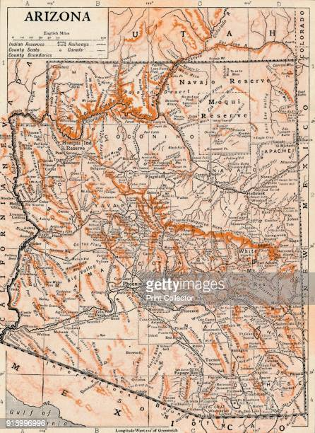 Arizona' Detailed and scaled map of Arizona United States with geographical features and place namesArtist Unknown