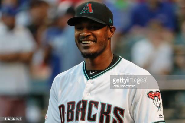 Arizona Diamondbacks center fielder Adam Jones smiles before the MLB baseball game between the Chicago Cubs and the Arizona Diamondbacks on April 26,...