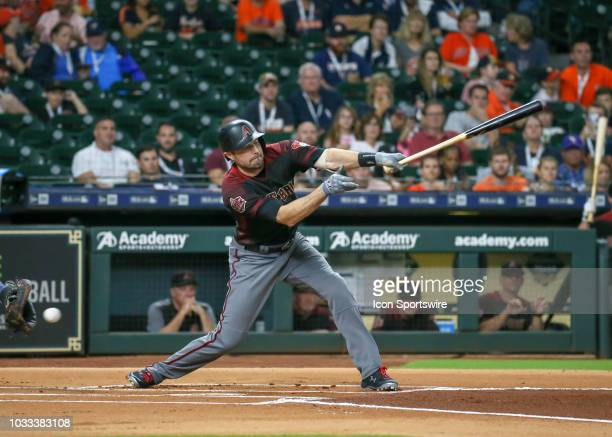 Arizona Diamondbacks center fielder AJ Pollock strikes out in the top of the first inning during the baseball game between the Arizona Diamondbacks...