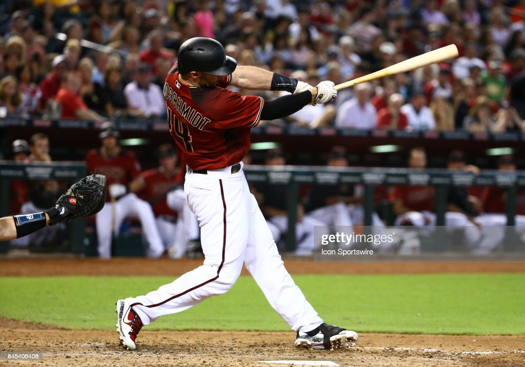 Arizona Diamondbacks First base Paul Goldschmidt (44) hits a home run in the fourth inning during the MLB baseball game between the San Diego Padres and the Arizona Diamondbacks on September 10, 2017 at Chase Field in Phoenix, AZ