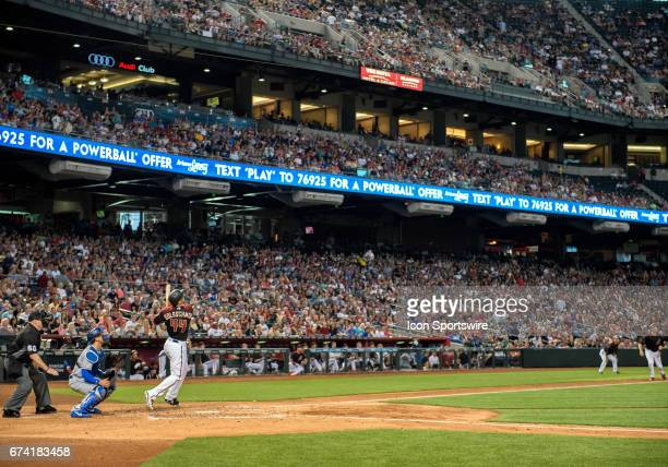 Arizona Diamondbacks first baseman Paul Goldschmidt bats in front of a crowd of 36294 during the MLB baseball game between the Los Angeles Dodgers...