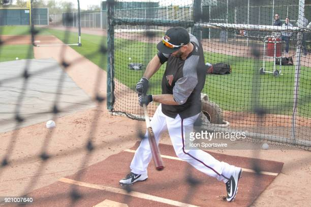 Arizona Diamondbacks infielder Daniel Descalso in the cage on February 19 2018 at Salt River Fields at Talking Stick in Scottsdale AZ