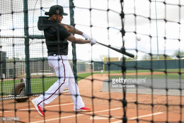 Arizona Diamondbacks infielder Ketel Marte in the cage on February 19 2018 at Salt River Fields at Talking Stick in Scottsdale AZ