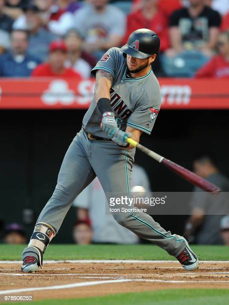 Arizona Diamondbacks left fielder David Peralta drives in a run during the first inning of a game against the Los Angeles Angels of Anaheim played on...