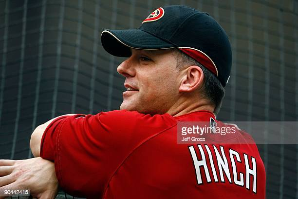 Arizona Diamondbacks manager A.J. Hinch looks on during batting practice prior to the game against the Los Angeles Dodgers at Dodger Stadium on...