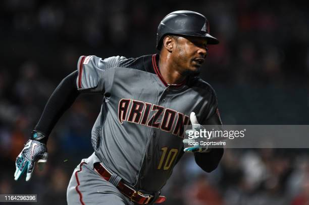 Arizona Diamondbacks outfielder Adam Jones rounds the bases after hitting a solo home run during the Major League Baseball game between the Arizona...