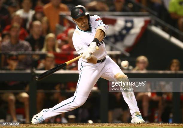 Arizona Diamondbacks outfielder AJ Pollock hits during the Major League Baseball game between the Colorado Rockies and the Arizona Diamondbacks on...