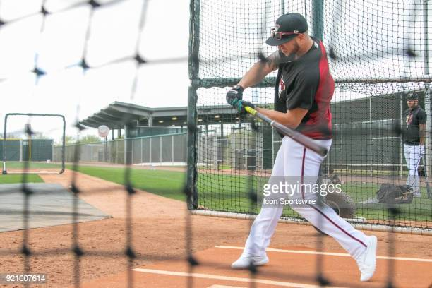 Arizona Diamondbacks outfielder David Peralta in the cage on February 19 2018 at Salt River Fields at Talking Stick in Scottsdale AZ
