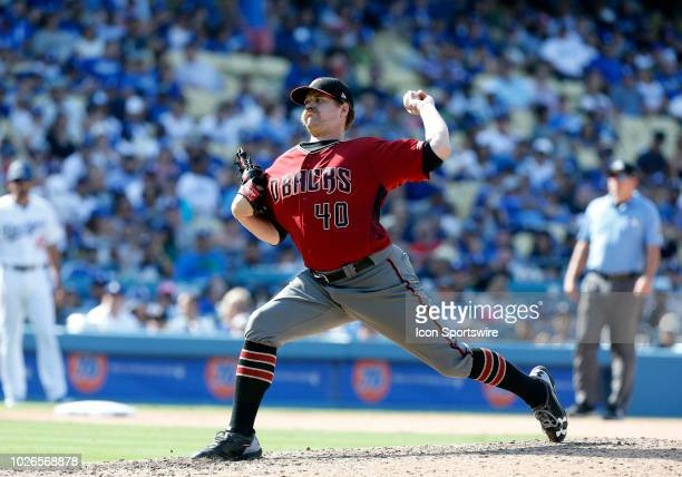 Arizona Diamondbacks pitcher Andrew Chafin throws a pitch during the game against the Los Angeles Dodgers on September 02 at Dodger Stadium in Los...
