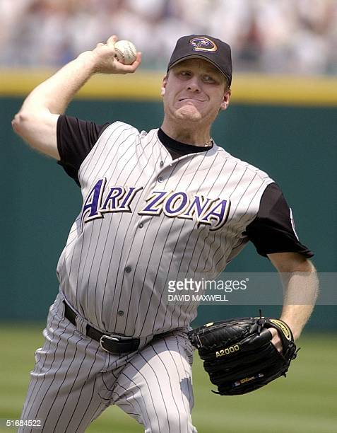 Arizona Diamondbacks pitcher Curt Schilling delivers a pitch against the Cleveland Indians on 30 June 2002 at Jacobs Field in Cleveland OH Schilling...