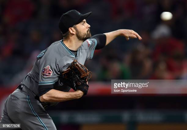 Arizona Diamondbacks pitcher TJ McFarland in action during the eighth inning of a game against the Los Angeles Angels of Anaheim played on June 19...
