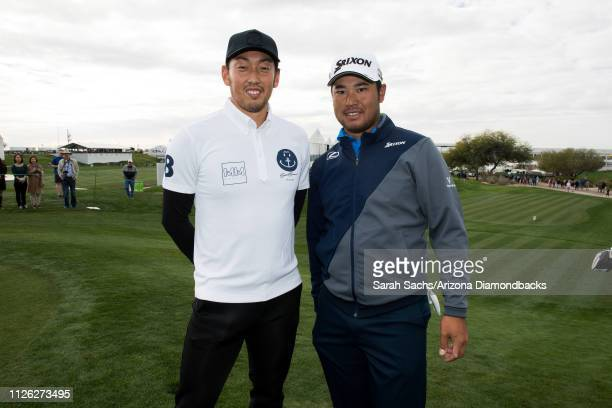 Arizona Diamondbacks pitcher Yoshihisa Hirano and professional golfer Hideki Matsuyama chat during the Waste Management Phoenix Open ProAm at TPC...