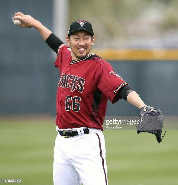 Arizona Diamondbacks pitcher Yoshihisa Hirano is pictured at the club's spring training facility in Scottsdale Arizona on Feb 14 2019 ==Kyodo