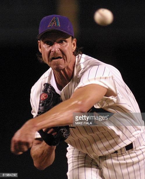 Arizona Diamondbacks starter Randy Johnson delivers during the first inning against the San Diego Padres 07 September 2001 in Phoenix.