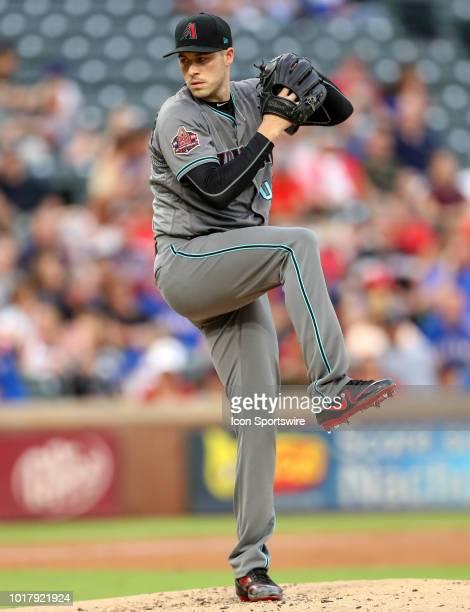 Arizona Diamondbacks starting pitcher Patrick Corbin attempts a pitch during the game between the Arizona Diamondbacks and Texas Rangers on August 14...