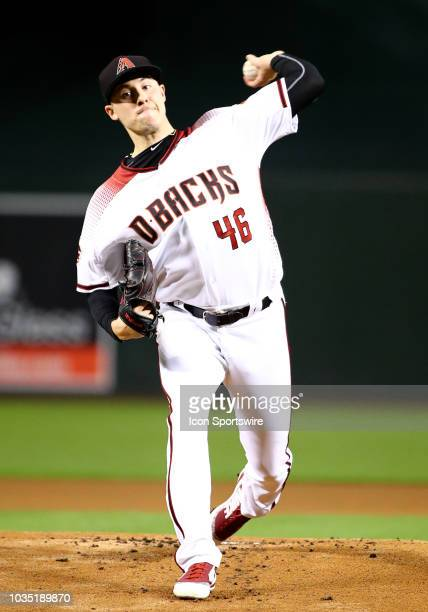 Arizona Diamondbacks starting pitcher Patrick Corbin pitces during the MLB Baseball games between the Arizona Diamondbacks and the Chicago Cubs on...