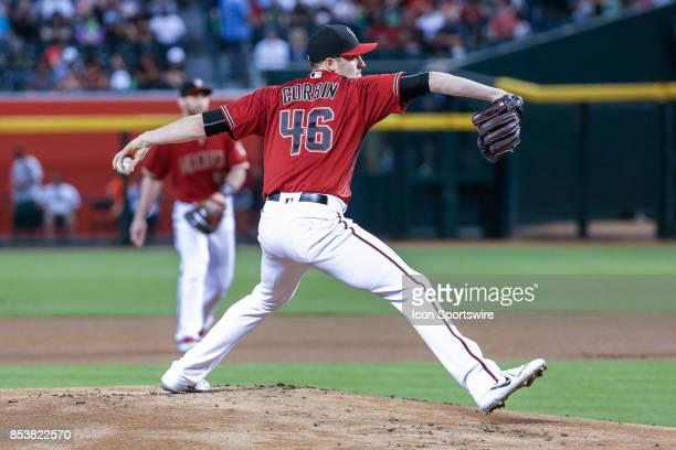 Arizona Diamondbacks starting pitcher Patrick Corbin throws a pitch during the MLB baseball game between the Miami Marlins and the Arizona...