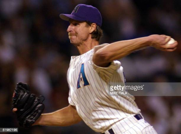 Arizona Diamondbacks starting pitcher Randy Johnson works the eighth inning against the Florida Marlins 23 April 2001 in Phoenix, AZ.
