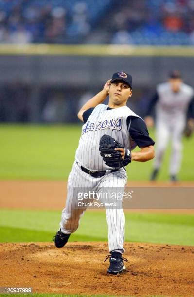 Arizona Diamondbacks Starting Pitcher Russ Ortiz pitches during the game against the Chicago White Sox June 15 2005 at US Cellular Field in Chicago...