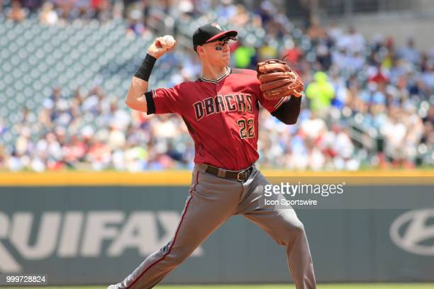 Arizona Diamondbacks Third baseman Jake Lamb throws out a baserunner during the MLB game between the Arizona Diamondbacks and the Atlanta Braves on...