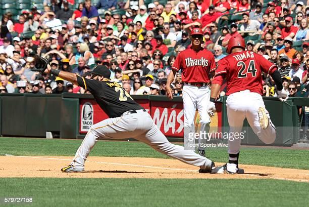 Arizona Diamondbacks third baseman Yasmany Tomas beats the throw to first during the Major League Baseball game between the Arizona Diamondbacks and...