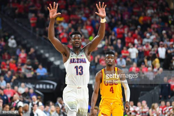 Arizona forward Deandre Ayton comes to the ball during the championship game of the mens Pac12 Tournament between the USC Trojans and the Arizona...