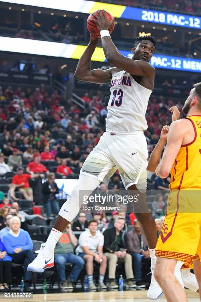 Arizona forward Deandre Ayton grabs a rebound during the championship game of the mens Pac12 Tournament between the USC Trojans and the Arizona...