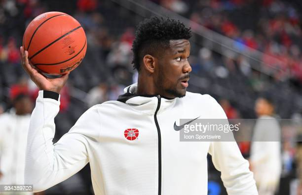 Arizona forward Deandre Ayton looks on before the championship game of the mens Pac12 Tournament between the USC Trojans and the Arizona Wildcats on...