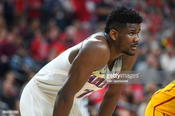 Arizona forward Deandre Ayton looks on during the championship game of the mens Pac12 Tournament between the USC Trojans and the Arizona Wildcats on...