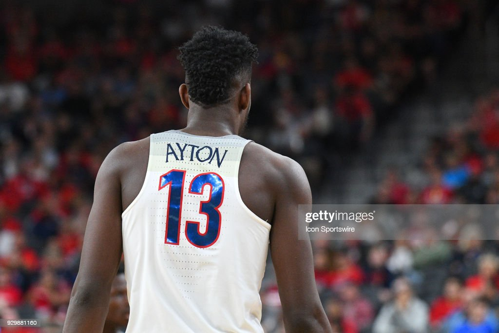 Arizona forward Deandre Ayton (13) looks on during the Quarterfinal game of the mens Pac-12 Tournament between the Colorado Buffaloes and the Arizona Wildcats on March 8, 2018, at the T-Mobile Arena in Las Vegas, NV.