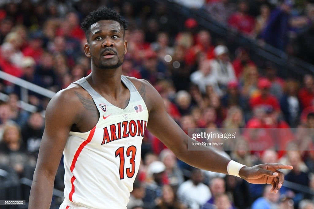Arizona forward Deandre Ayton (13) looks on during the semifinal game of the mens Pac-12 Tournament between the UCLA Bruins and the Arizona Wildcats on March 9, 2018, at the T-Mobile Arena in Las Vegas, NV.