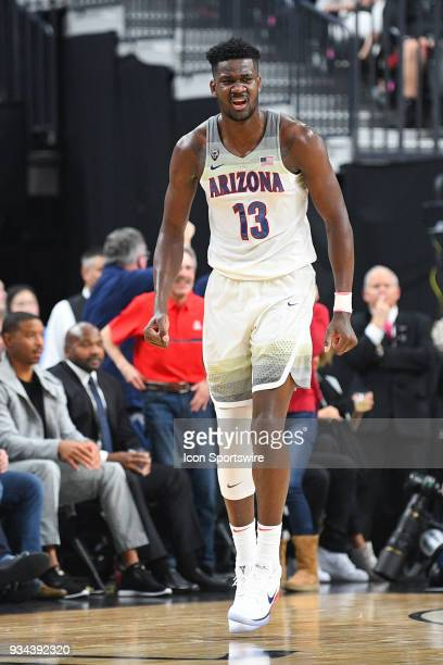 Arizona forward Deandre Ayton reacts to a basket during the championship game of the mens Pac12 Tournament between the USC Trojans and the Arizona...