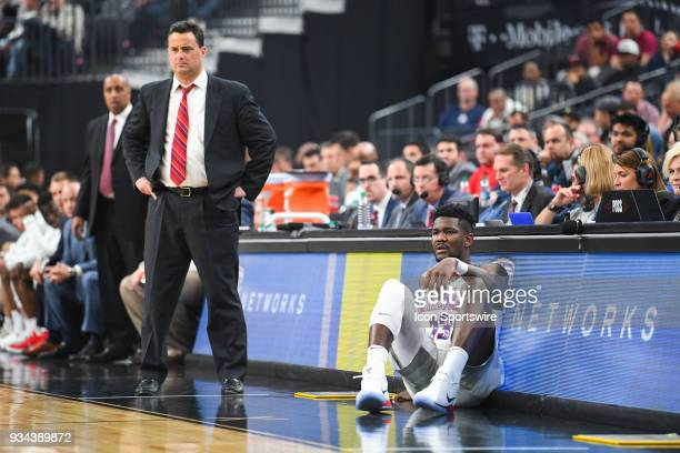 Arizona forward Deandre Ayton waits to check in the game as Arizona head coach Sean Miller looks on during the championship game of the mens Pac12...
