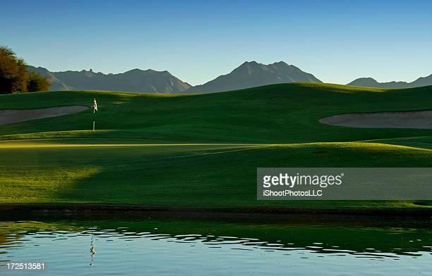 夕暮れのアリゾナのゴルフ